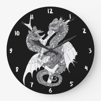 Grande Horloge Ronde Dragon de caméléon