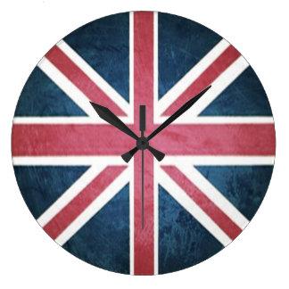 Grande Horloge Ronde Drapeau britannique grunge de cric des syndicats