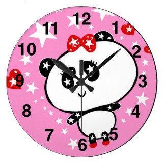 Grande Horloge Ronde Drôle mignon d'ours panda personnalisé