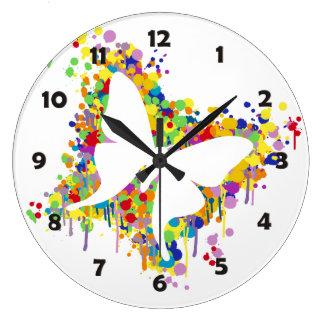 Grande Horloge Ronde Éclaboussure de papillon de danse
