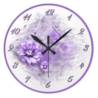 Grande Horloge Ronde Écrit dans l'horloge murale florale de lavande