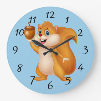 Grande Horloge Ronde Écureuil de bande dessinée avec le gland
