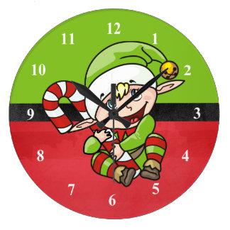 Grande Horloge Ronde Elf mignon avec Noël de canne de Noël le Joyeux