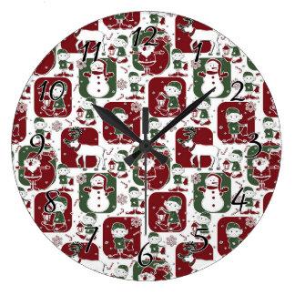 Grande Horloge Ronde Elfes et bonhommes de neige de Noël