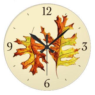 Grande Horloge Ronde Encre et feuille d'automne de danse peint par