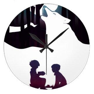 Grande Horloge Ronde Enfants en bois