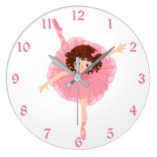 Grande Horloge Ronde Enfants roses mignons de ballerine
