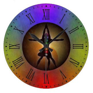 Grande Horloge Ronde Équilibre coloré de Chakras Yin Yang du yoga sept