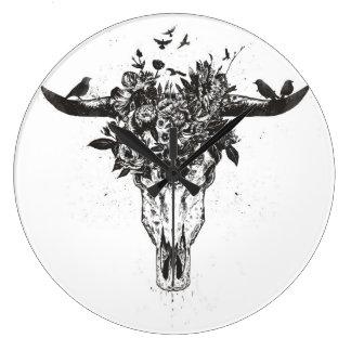 Grande Horloge Ronde Été mort (noir et blanc)
