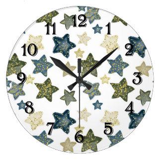 Grande Horloge Ronde Étoiles d'aquarelle de confettis d'or