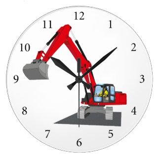 Grande Horloge Ronde excavatrice de chaîne rouge