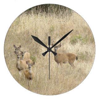 Grande Horloge Ronde Faons d'animaux de faune de cerf de Virginie
