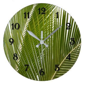 Grande Horloge Ronde Feuille tropical de palmier de Kauai