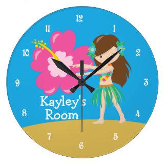 Grande Horloge Ronde Fille de danse polynésienne faite sur commande