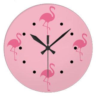 Grande Horloge Ronde Flamants tropicaux roses