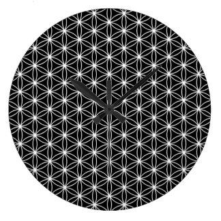 Grande Horloge Ronde Fleur de la géométrie sacrée de la vie