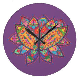 Grande Horloge Ronde Fleur de lotus colorée