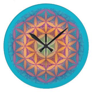 Grande Horloge Ronde Fleur de mandala de la vie