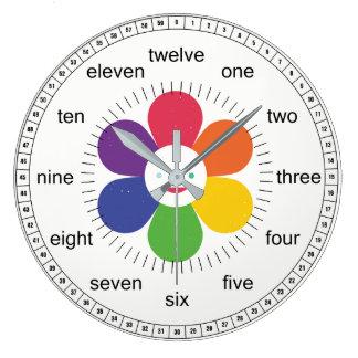 Grande Horloge Ronde Fleur heureuse pour des enfants