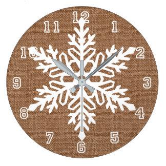 Grande Horloge Ronde Flocon de neige sur Noël rustique de toile de jute