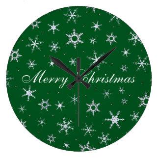 Grande Horloge Ronde Flocons de neige de vert de Joyeux Noël