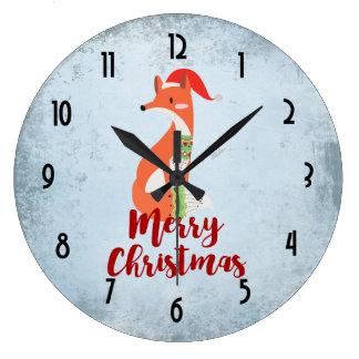 Grande Horloge Ronde Fox de Joyeux Noël dans le casquette de Père Noël