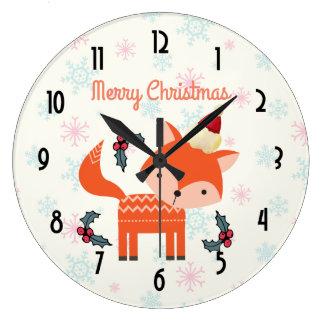 Grande Horloge Ronde Fox orange dans Noël lunatique mignon de casquette