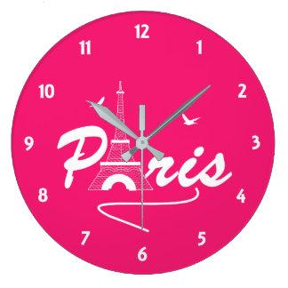 Grande Horloge Ronde Graphique des textes de fantaisie de Tour Eiffel