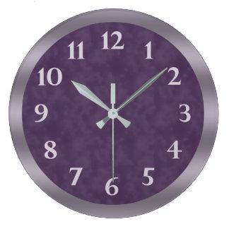 Grande Horloge Ronde Gris mauve-foncé de lavande