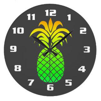 Grande Horloge Ronde Gris tropical mignon simple et d'elegan d'ananas
