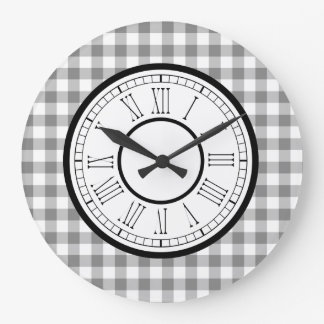 Grande Horloge Ronde Guingan gris et blanc