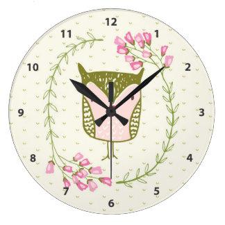 Grande Horloge Ronde Guirlande florale et coeurs de hibou mignon