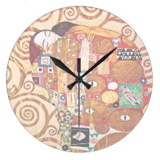 Grande Horloge Ronde Gustav Klimt - l'étreinte - peinture de beaux-arts