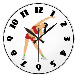 Grande Horloge Ronde Gymnaste réchauffant l'horloge
