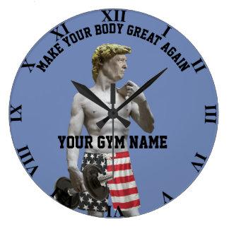Grande Horloge Ronde Haltère et pantalon drôles de Donald Trump de