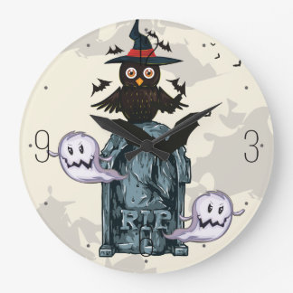 Grande Horloge Ronde Hibou et tombe heureux de hantise de Halloween