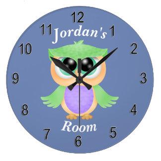 Grande Horloge Ronde Hibou mignon de bébé de l'horloge des enfants