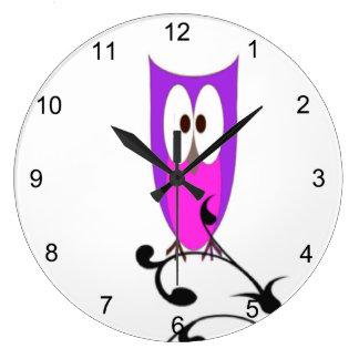 Grande Horloge Ronde Hibou pourpre