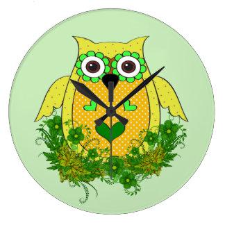 Grande Horloge Ronde Hibou vert mignon