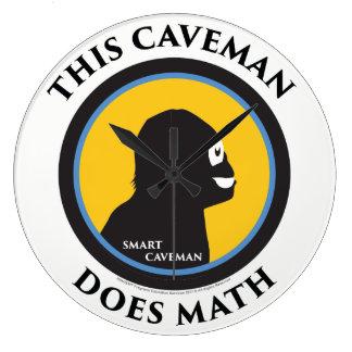 Grande Horloge Ronde Homme des cavernes de Smart de maths d'horloge