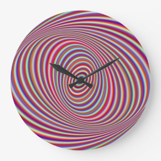 Grande Horloge Ronde Hypnose au néon