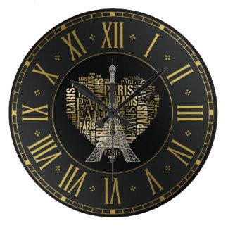 Grande Horloge Ronde Inscriptions d'or Paris de Tour Eiffel | au coeur
