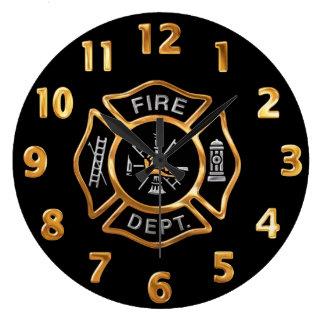Grande Horloge Ronde Insigne d'or de corps de sapeurs-pompiers