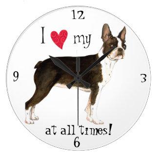 Grande Horloge Ronde J'aime mon Boston Terrier