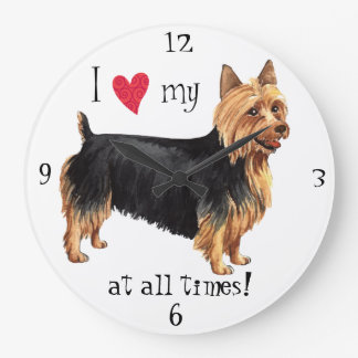 Grande Horloge Ronde J'aime mon Terrier australien