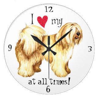 Grande Horloge Ronde J'aime mon Terrier tibétain