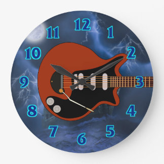 Grande Horloge Ronde Joueur de guitare électrique