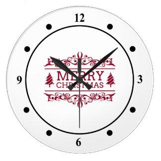 Grande Horloge Ronde Joyeux Noël blanc et rouge