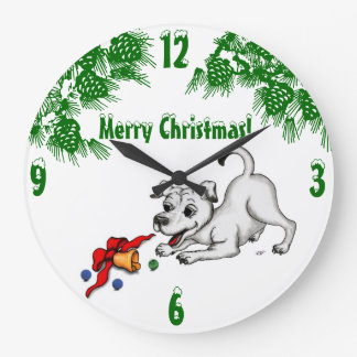 Grande Horloge Ronde Joyeux Noël ! Chiot avec Bell et boule