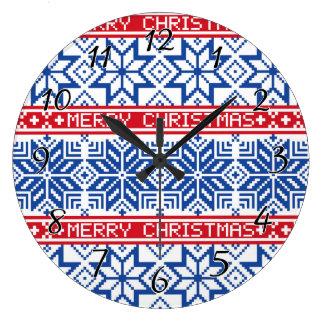 Grande Horloge Ronde Joyeux Noël scandinave